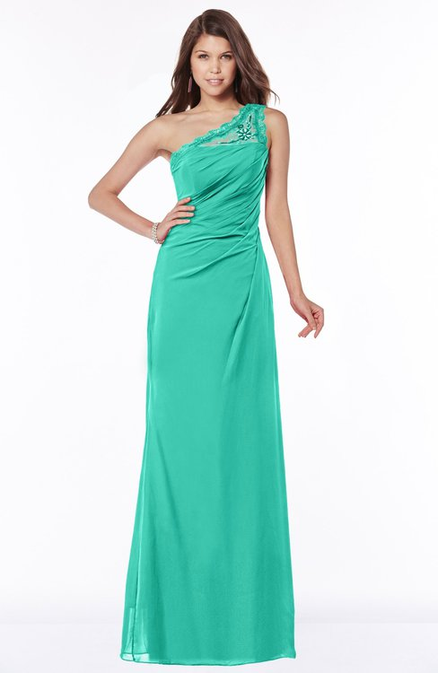 ColsBM Kathleen Viridian Green Mature A-line One Shoulder Half Backless Floor Length Lace Bridesmaid Dresses
