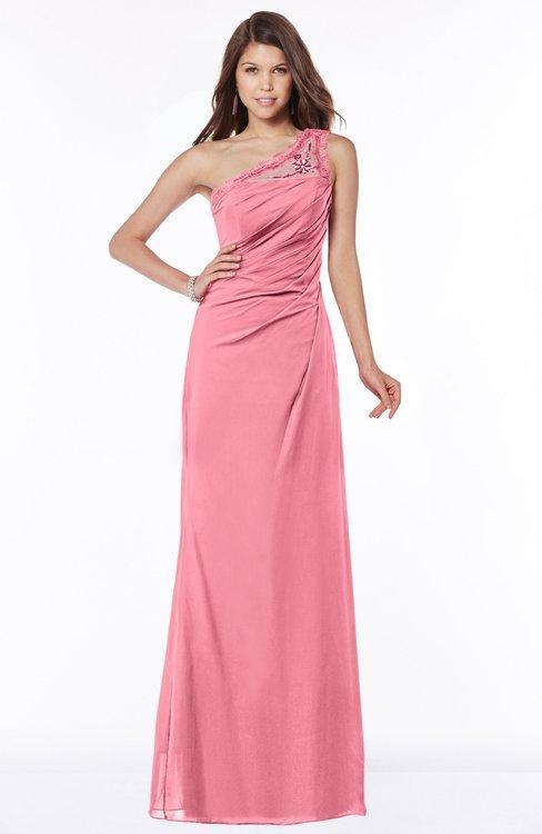 ColsBM Kathleen Watermelon Mature A-line One Shoulder Half Backless Floor Length Lace Bridesmaid Dresses
