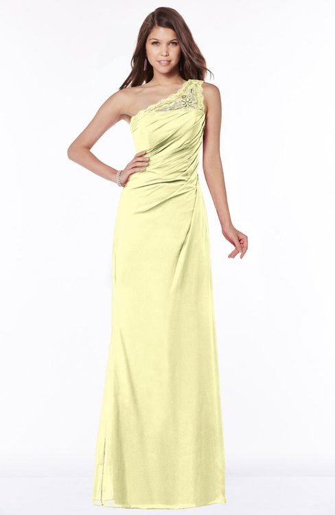 ColsBM Kathleen Wax Yellow Mature A-line One Shoulder Half Backless Floor Length Lace Bridesmaid Dresses