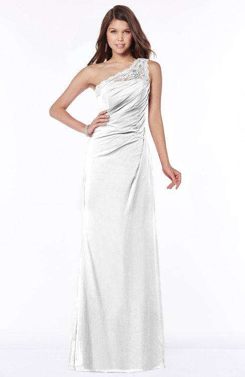 ColsBM Kathleen White Mature A-line One Shoulder Half Backless Floor Length Lace Bridesmaid Dresses
