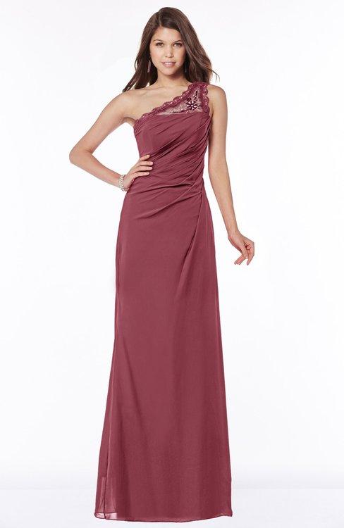 ColsBM Kathleen Wine Mature A-line One Shoulder Half Backless Floor Length Lace Bridesmaid Dresses