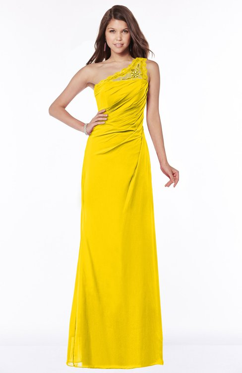 ColsBM Kathleen Yellow Mature A-line One Shoulder Half Backless Floor Length Lace Bridesmaid Dresses