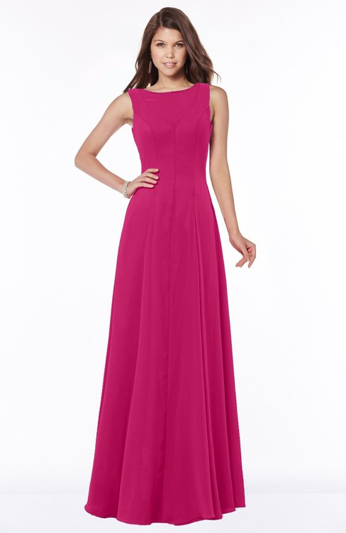 ColsBM Anika Beetroot Purple Modest A-line Scoop Sleeveless Zip up Chiffon Bridesmaid Dresses