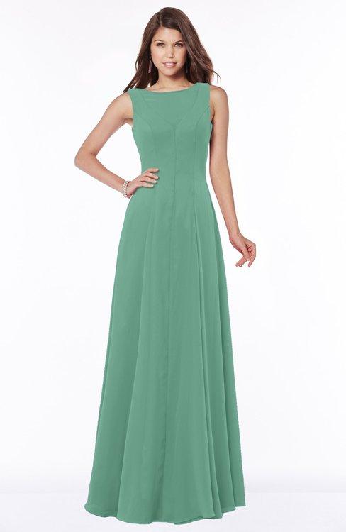 ColsBM Anika Beryl Green Modest A-line Scoop Sleeveless Zip up Chiffon Bridesmaid Dresses