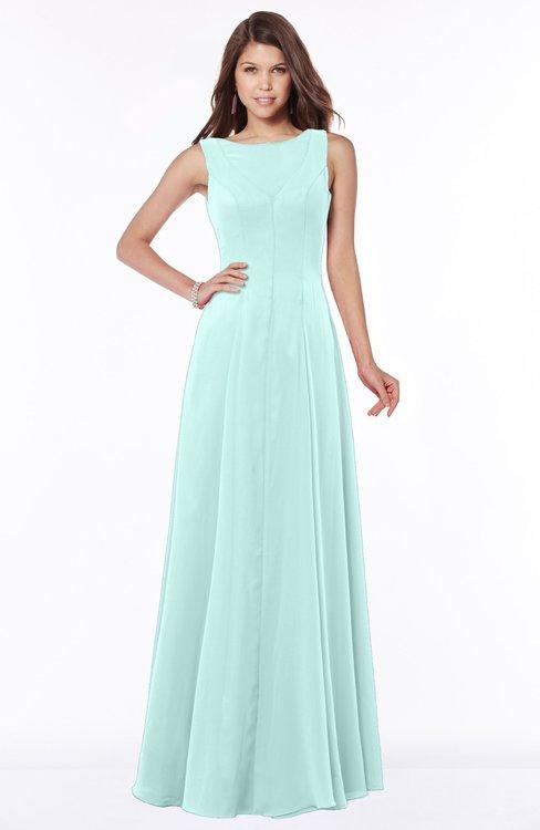 ColsBM Anika Blue Glass Modest A-line Scoop Sleeveless Zip up Chiffon Bridesmaid Dresses