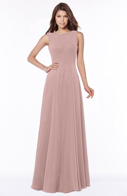 ColsBM Anika Blush Pink Modest A-line Scoop Sleeveless Zip up Chiffon Bridesmaid Dresses