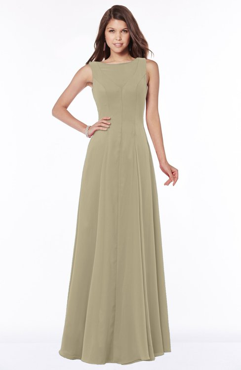 ColsBM Anika Candied Ginger Modest A-line Scoop Sleeveless Zip up Chiffon Bridesmaid Dresses