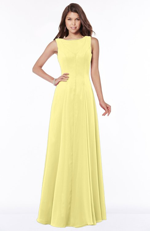 ColsBM Anika Daffodil Modest A-line Scoop Sleeveless Zip up Chiffon Bridesmaid Dresses