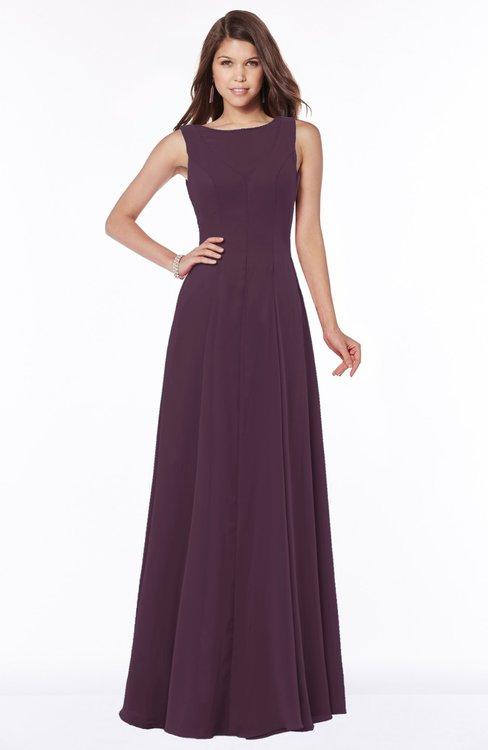 ColsBM Anika Plum Modest A-line Scoop Sleeveless Zip up Chiffon Bridesmaid Dresses