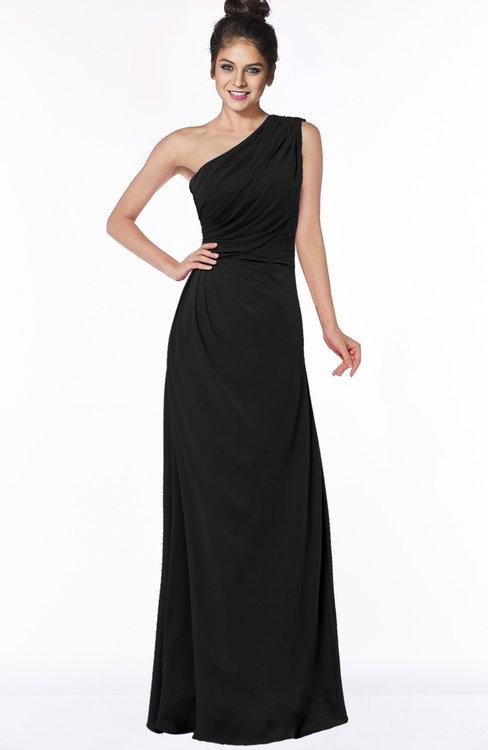 ColsBM Daniela Black Glamorous A-line Sleeveless Zip up Chiffon Ruching Bridesmaid Dresses