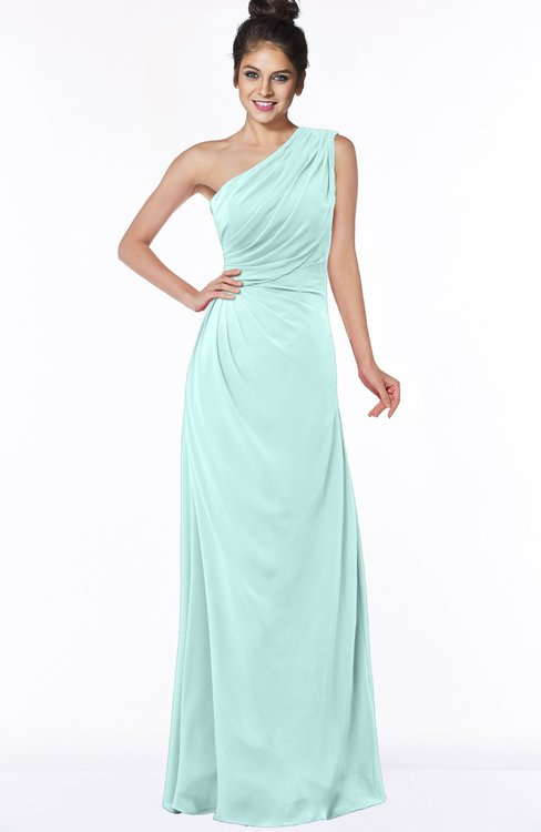 ColsBM Daniela Blue Glass Glamorous A-line Sleeveless Zip up Chiffon Ruching Bridesmaid Dresses