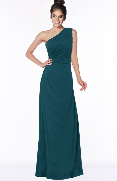 ColsBM Daniela Blue Green Glamorous A-line Sleeveless Zip up Chiffon Ruching Bridesmaid Dresses