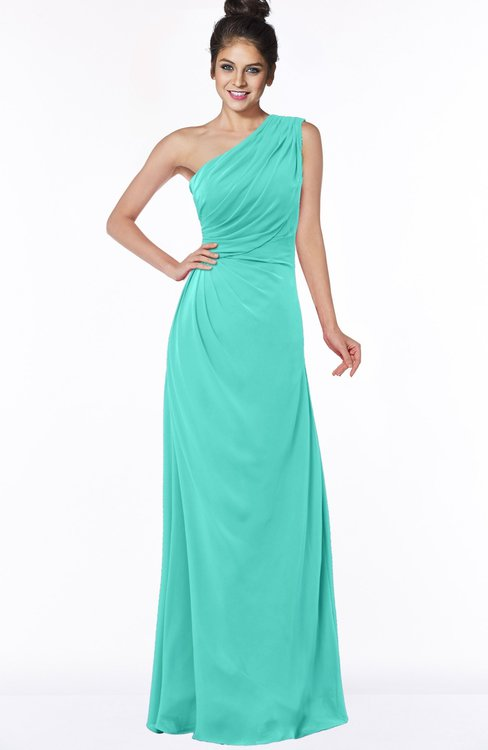 ColsBM Daniela Blue Turquoise Glamorous A-line Sleeveless Zip up Chiffon Ruching Bridesmaid Dresses
