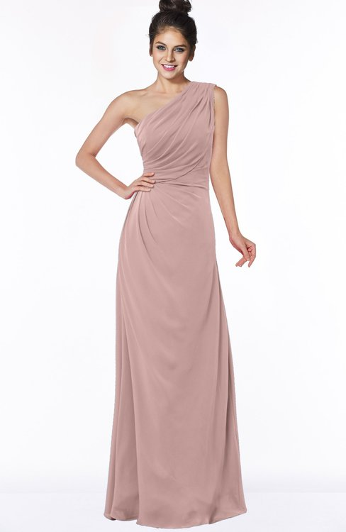 ColsBM Daniela Blush Pink Glamorous A-line Sleeveless Zip up Chiffon Ruching Bridesmaid Dresses
