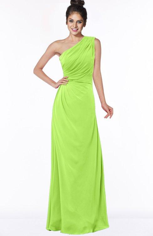 ColsBM Daniela Bright Green Glamorous A-line Sleeveless Zip up Chiffon Ruching Bridesmaid Dresses