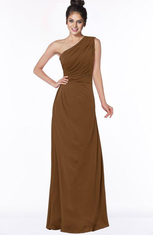 ColsBM Daniela Brown Glamorous A-line Sleeveless Zip up Chiffon Ruching Bridesmaid Dresses