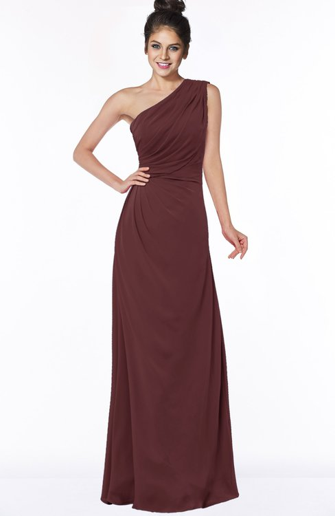 ColsBM Daniela Burgundy Glamorous A-line Sleeveless Zip up Chiffon Ruching Bridesmaid Dresses