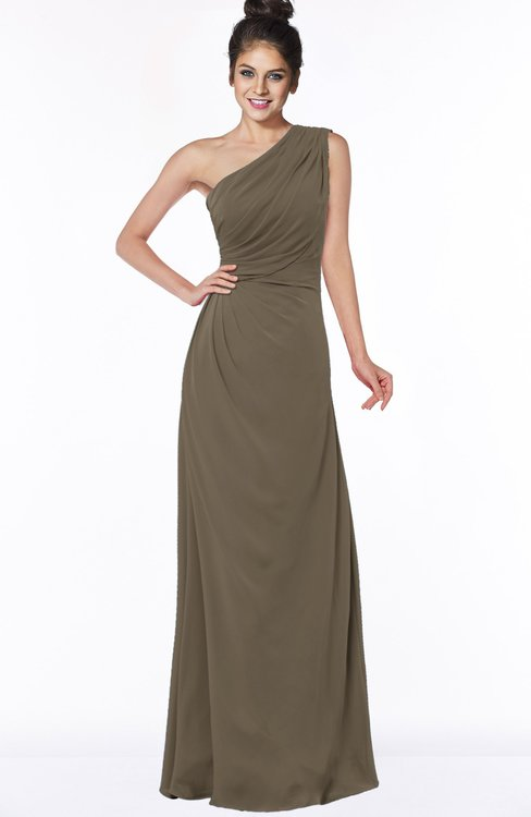 ColsBM Daniela Carafe Brown Glamorous A-line Sleeveless Zip up Chiffon Ruching Bridesmaid Dresses