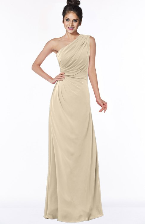 ColsBM Daniela Champagne Glamorous A-line Sleeveless Zip up Chiffon Ruching Bridesmaid Dresses