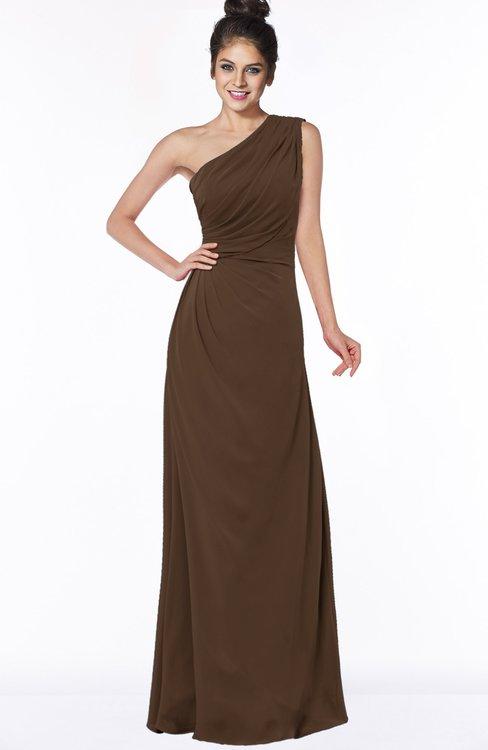 ColsBM Daniela Chocolate Brown Glamorous A-line Sleeveless Zip up Chiffon Ruching Bridesmaid Dresses