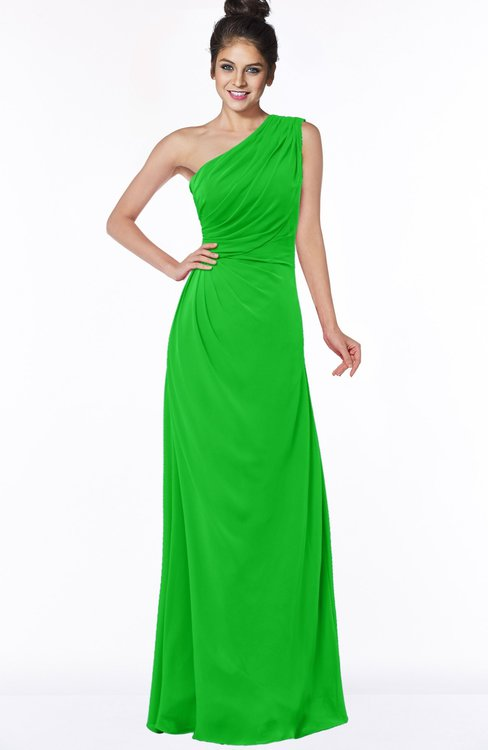 ColsBM Daniela Classic Green Glamorous A-line Sleeveless Zip up Chiffon Ruching Bridesmaid Dresses