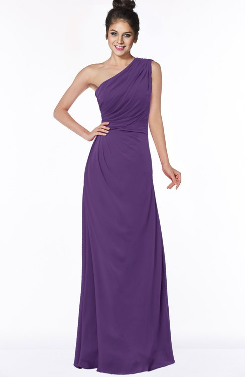 ColsBM Daniela Dark Purple Glamorous A-line Sleeveless Zip up Chiffon Ruching Bridesmaid Dresses