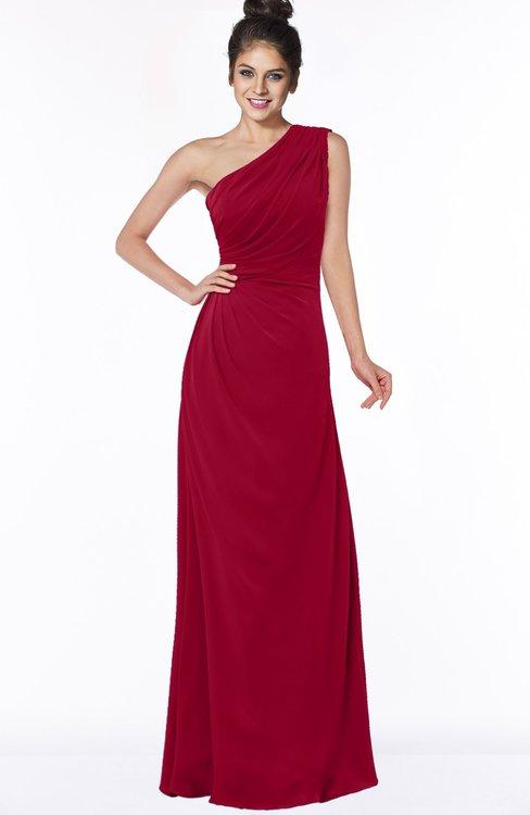 ColsBM Daniela Dark Red Glamorous A-line Sleeveless Zip up Chiffon Ruching Bridesmaid Dresses
