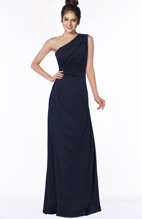ColsBM Daniela Dark Sapphire Glamorous A-line Sleeveless Zip up Chiffon Ruching Bridesmaid Dresses