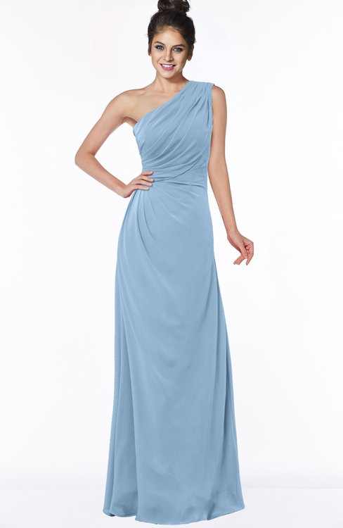 ColsBM Daniela Dusty Blue Glamorous A-line Sleeveless Zip up Chiffon Ruching Bridesmaid Dresses
