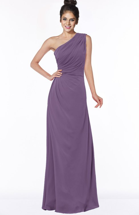 ColsBM Daniela Eggplant Glamorous A-line Sleeveless Zip up Chiffon Ruching Bridesmaid Dresses