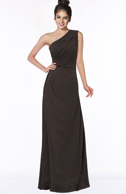 ColsBM Daniela Fudge Brown Glamorous A-line Sleeveless Zip up Chiffon Ruching Bridesmaid Dresses