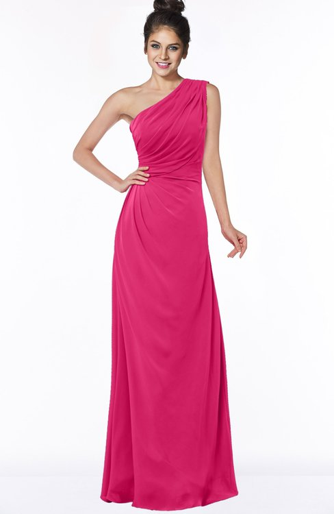 ColsBM Daniela Fuschia Glamorous A-line Sleeveless Zip up Chiffon Ruching Bridesmaid Dresses