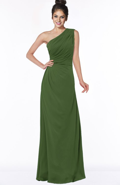 ColsBM Daniela Garden Green Glamorous A-line Sleeveless Zip up Chiffon Ruching Bridesmaid Dresses