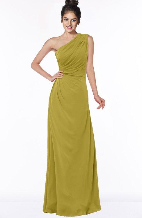 ColsBM Daniela Golden Olive Glamorous A-line Sleeveless Zip up Chiffon Ruching Bridesmaid Dresses