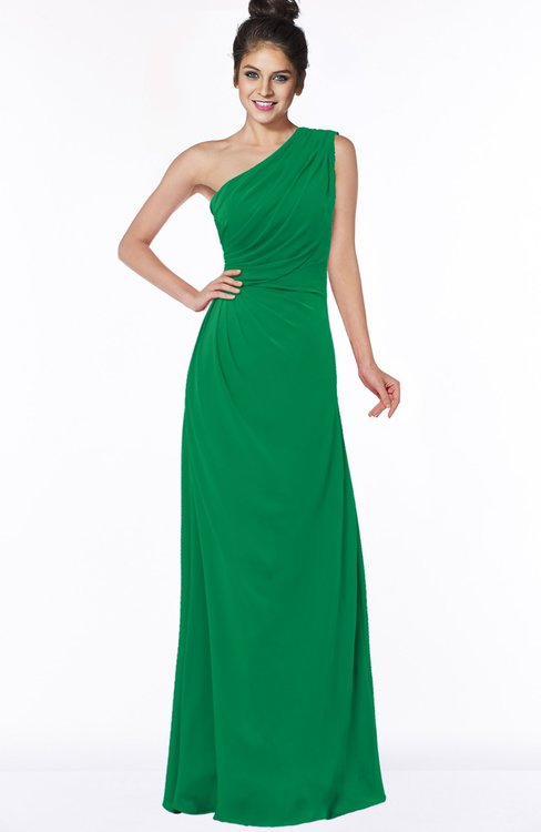 ColsBM Daniela Green Glamorous A-line Sleeveless Zip up Chiffon Ruching Bridesmaid Dresses