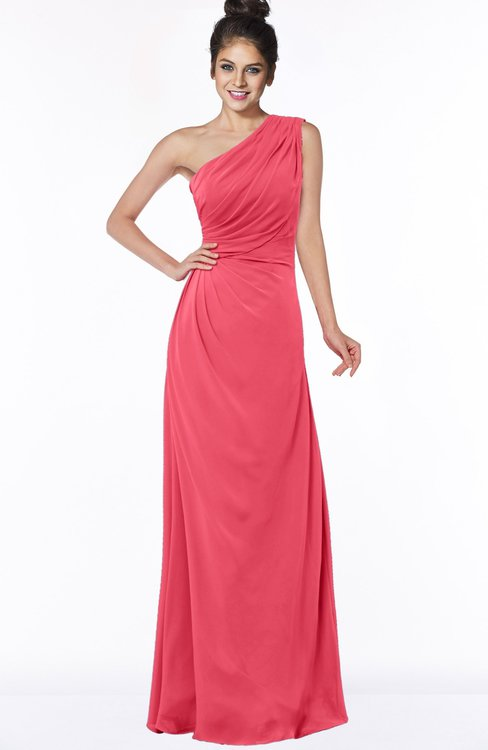 ColsBM Daniela Guava Glamorous A-line Sleeveless Zip up Chiffon Ruching Bridesmaid Dresses