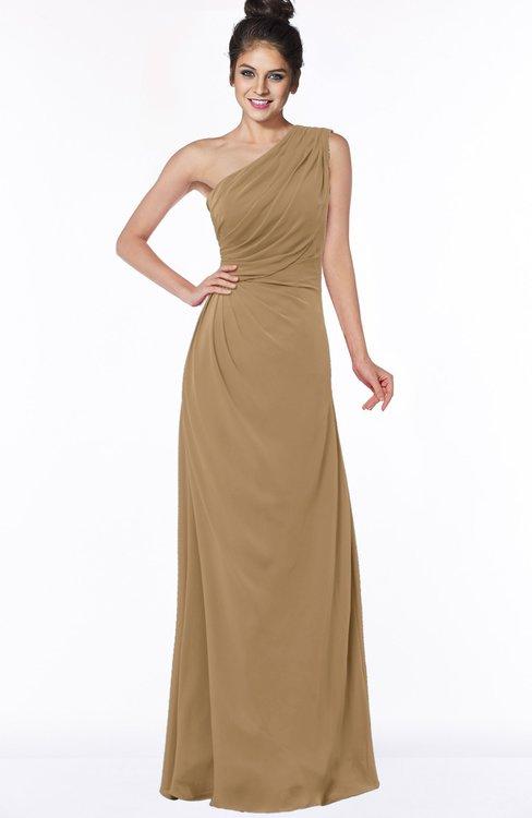 ColsBM Daniela Indian Tan Glamorous A-line Sleeveless Zip up Chiffon Ruching Bridesmaid Dresses
