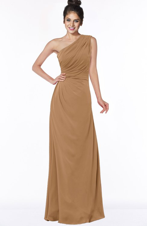 ColsBM Daniela Light Brown Glamorous A-line Sleeveless Zip up Chiffon Ruching Bridesmaid Dresses