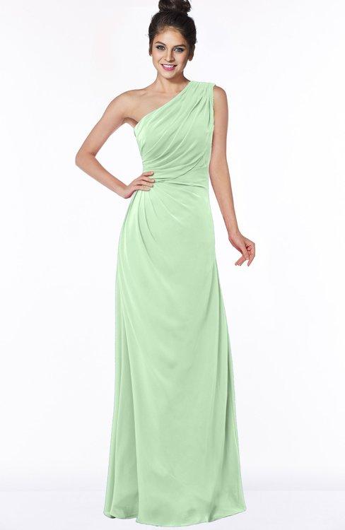 ColsBM Daniela Light Green Glamorous A-line Sleeveless Zip up Chiffon Ruching Bridesmaid Dresses
