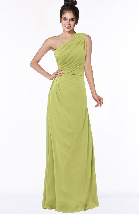 ColsBM Daniela Linden Green Glamorous A-line Sleeveless Zip up Chiffon Ruching Bridesmaid Dresses