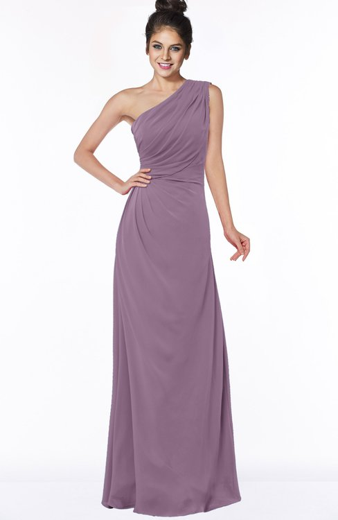 ColsBM Daniela Mauve Glamorous A-line Sleeveless Zip up Chiffon Ruching Bridesmaid Dresses