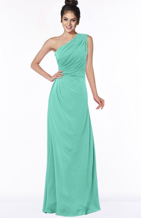 ColsBM Daniela Mint Green Glamorous A-line Sleeveless Zip up Chiffon Ruching Bridesmaid Dresses