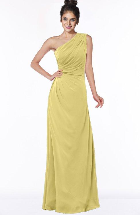 ColsBM Daniela Misted Yellow Glamorous A-line Sleeveless Zip up Chiffon Ruching Bridesmaid Dresses