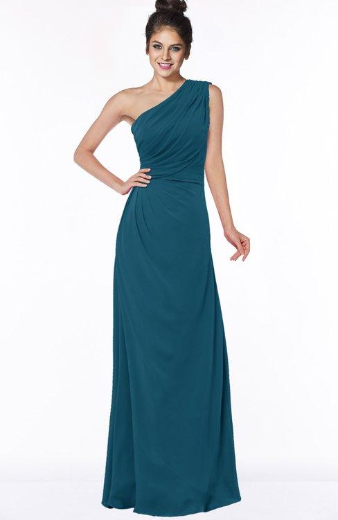 ColsBM Daniela Moroccan Blue Glamorous A-line Sleeveless Zip up Chiffon Ruching Bridesmaid Dresses