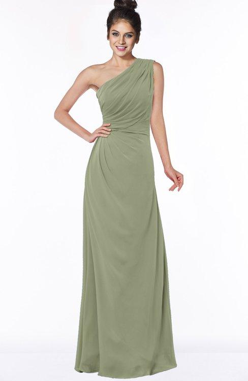 ColsBM Daniela Moss Green Glamorous A-line Sleeveless Zip up Chiffon Ruching Bridesmaid Dresses
