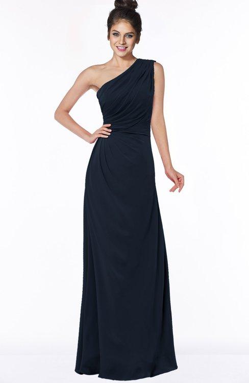 ColsBM Daniela Navy Blue Glamorous A-line Sleeveless Zip up Chiffon Ruching Bridesmaid Dresses