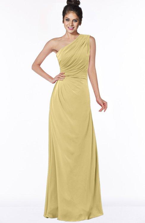 ColsBM Daniela New Wheat Glamorous A-line Sleeveless Zip up Chiffon Ruching Bridesmaid Dresses
