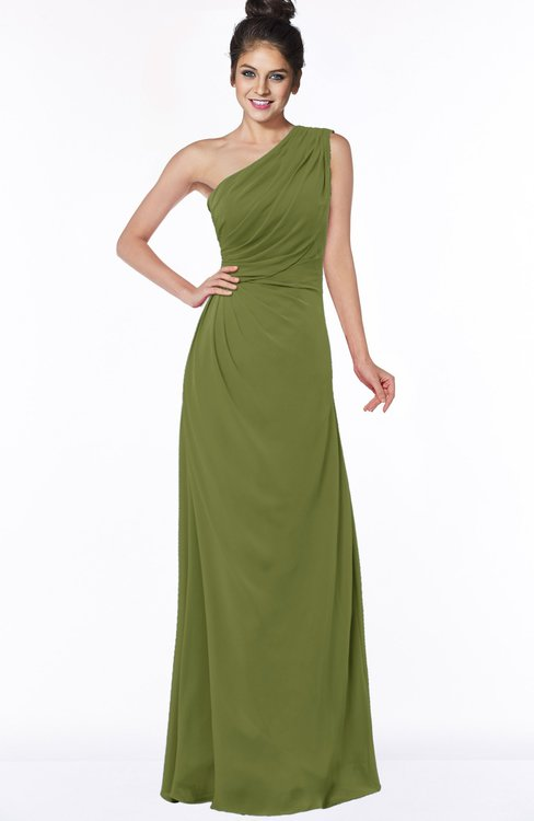 ColsBM Daniela Olive Green Glamorous A-line Sleeveless Zip up Chiffon Ruching Bridesmaid Dresses