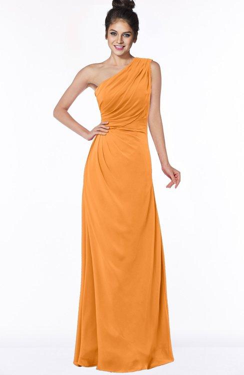ColsBM Daniela Orange Glamorous A-line Sleeveless Zip up Chiffon Ruching Bridesmaid Dresses