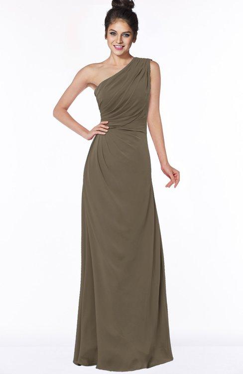 ColsBM Daniela Otter Glamorous A-line Sleeveless Zip up Chiffon Ruching Bridesmaid Dresses
